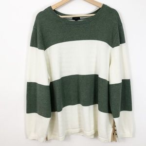 Talbots Womens Stripe Green White Sweater 3x